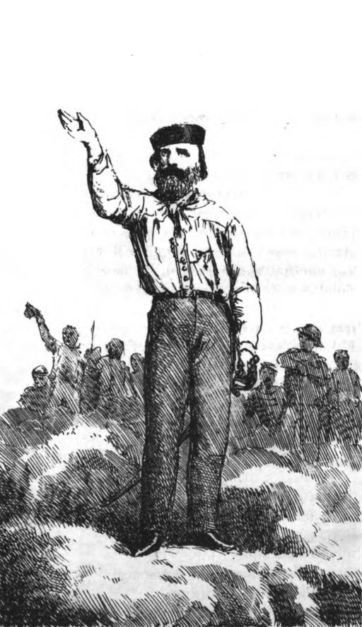 Il Generale Garibaldi ritratto dal Paravicini fra pag 152 e 153 del Cacciatore dell'Alpi di G. B. Sicheri