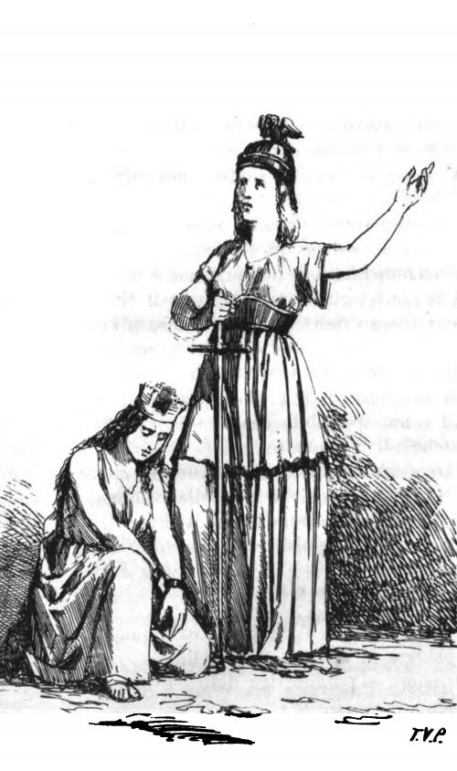 Allegoria di Italia e Francia, stampa del Paravicini fra pag. 94 e 95 del Cacciatore dell'Alpi di G. B. Sicheri